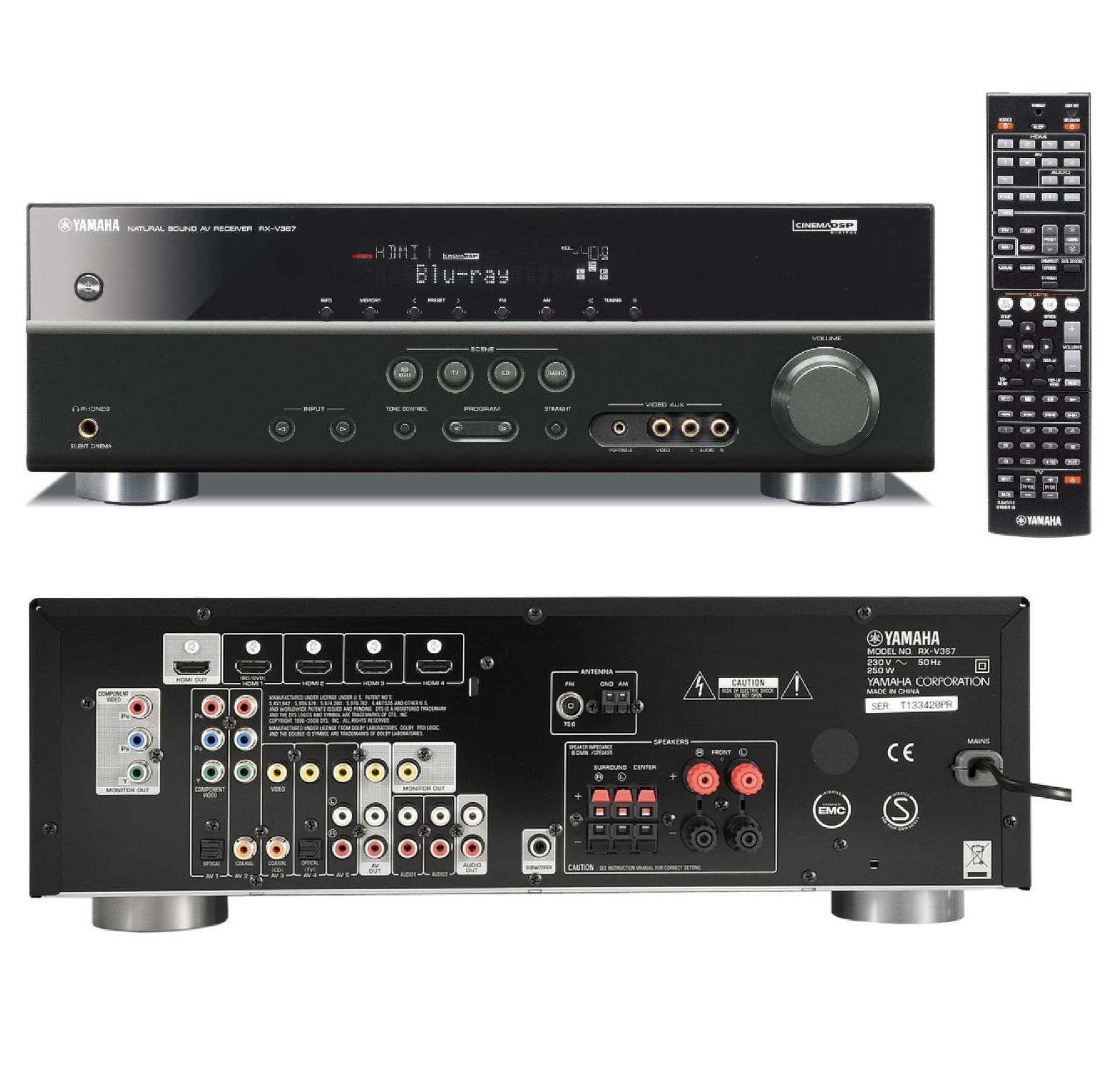 Yamaha rx v367 home cinema 5 1 3d av receiver amplifier 5x for Yamaha amplifier receiver