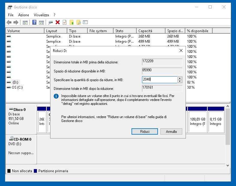 Gestione disco 5: partizionare il disco su Windows 10