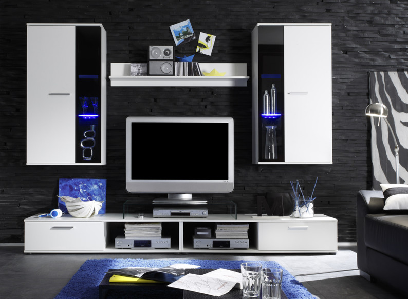 Composizione soggiorno moderno queen,parete di design,mobile ...