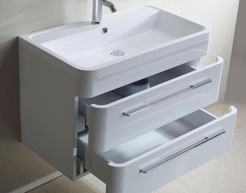Mobile bagno sospeso boris, design moderno bianco o nero lucido ...