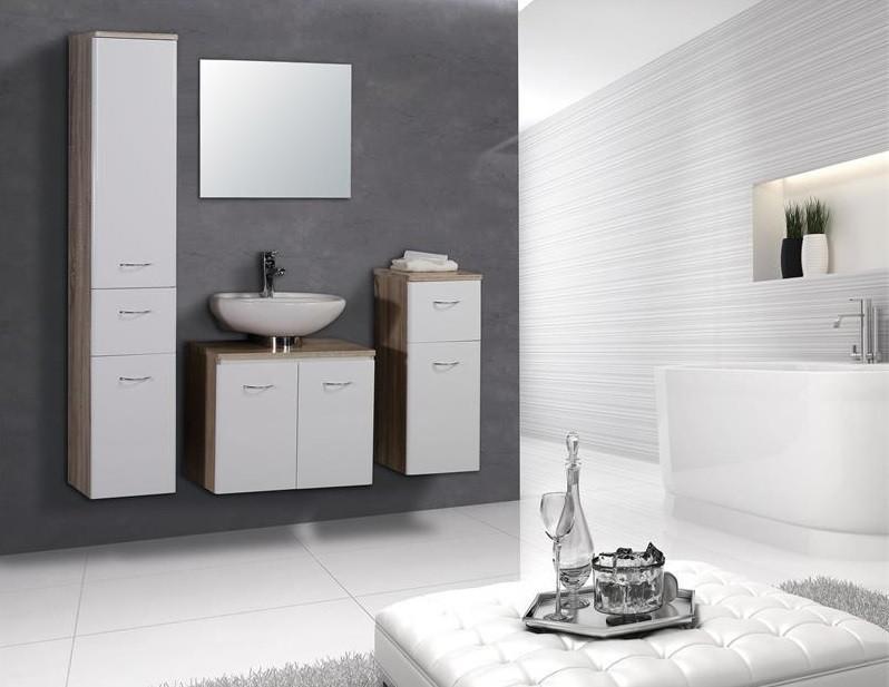 Lukas mobile bagno sospeso moderno quercia e bianco for Arredamento moderno ma caldo