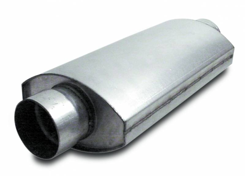 Muffler  Split Flow  Oval  3.50 Inch  14 Inches Long    Aluminized Steel