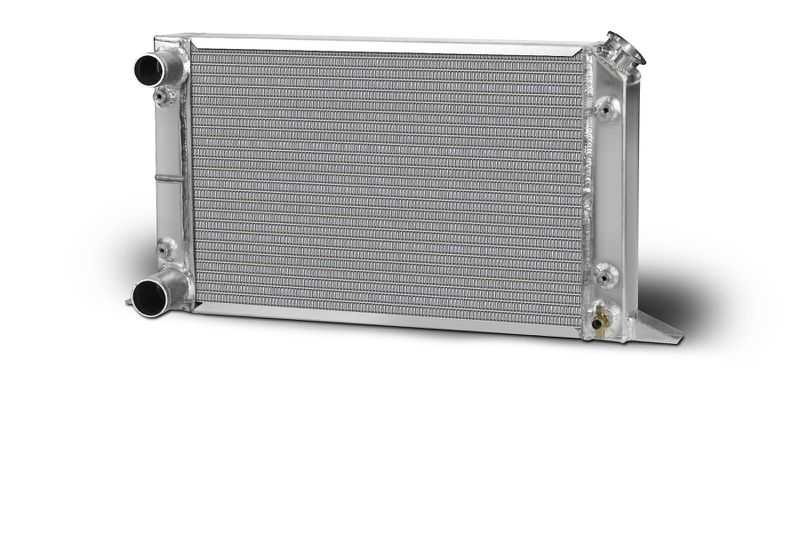 "Lightweight Single Row Sirocco Radiator-LH Double Pass w/filler top right 1.50"" in / 1.75"" Outlet"