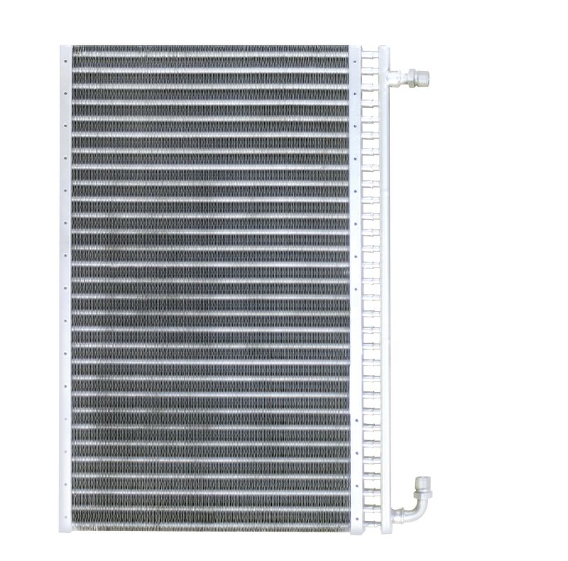 Aluminum  AC Condenser  12 Inch Wide X 19 Inch Tall  5/8-16 Inlet  3/4-16 Outlet  22mm Thick  Use With 134 Or R12 Freon