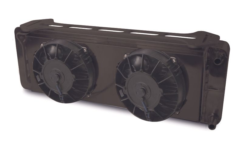 Aluminum Black  Heat Exchanger With Dual Fans  1999-04 Ford Lightning/F150    Double Pass