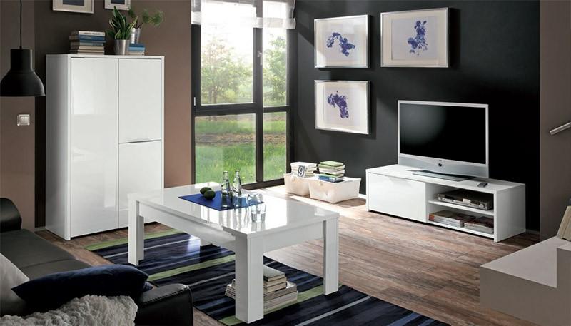 Porta tv moderno vento v4, mobile soggiorno bianco di design italiano