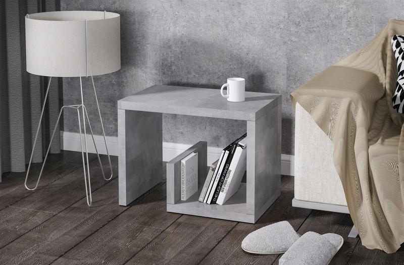 beistelltisch beton beitisch nachttisch sofatisch hochwertig modern design neu ebay. Black Bedroom Furniture Sets. Home Design Ideas