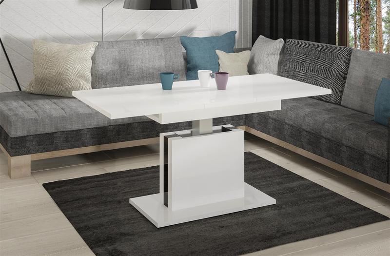 couchtisch ausziehbar h henverstellbar weiss hochglanz tisch funktion ebay. Black Bedroom Furniture Sets. Home Design Ideas
