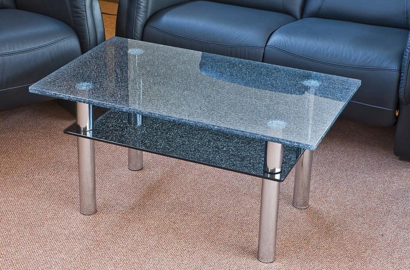moderner Crashglas Couchtisch Wohnzimmertisch gecrashtes Glas Tisch 100cm Chr -> Couchtisch Glas Crashglas