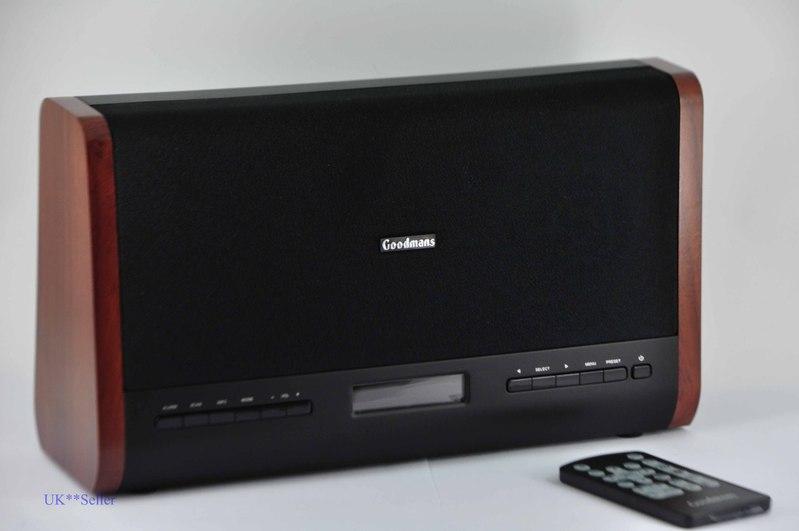 goodmans portable dab fm digital radio dual alarm clock remote control wood ebay. Black Bedroom Furniture Sets. Home Design Ideas
