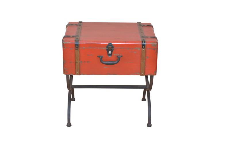 Deko beistelltisch koffer metall holz design truhe kiste for Tisch koffer design