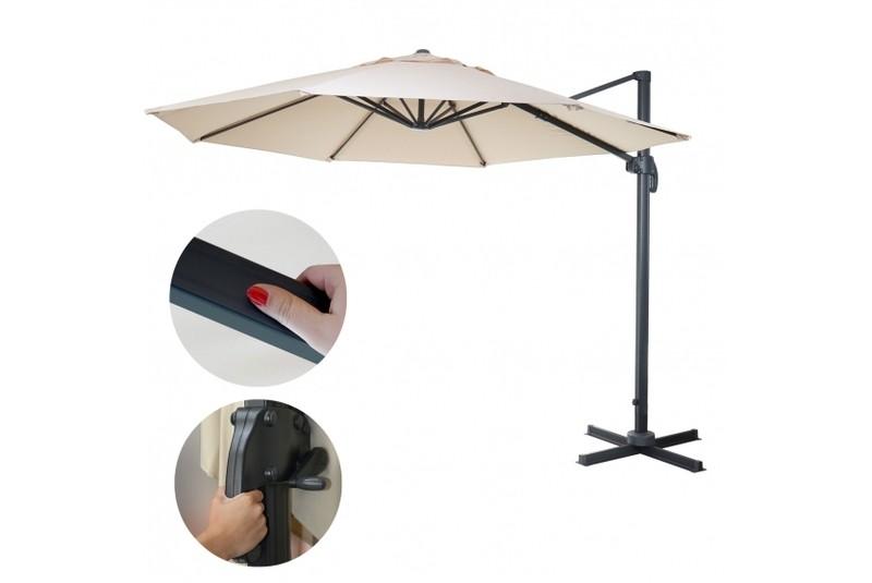 sonnenschirm creme 4 m drehbar ohne st nder g nstig ampelschrim marktschirm ebay. Black Bedroom Furniture Sets. Home Design Ideas