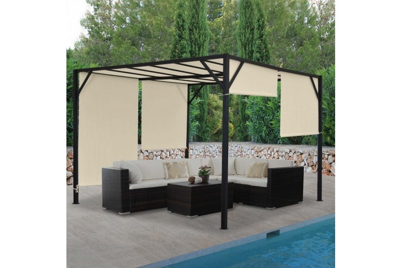 garten pavillon pergola 4x4 m creme gartenzelt partyzelt terasse schiebedach ebay. Black Bedroom Furniture Sets. Home Design Ideas
