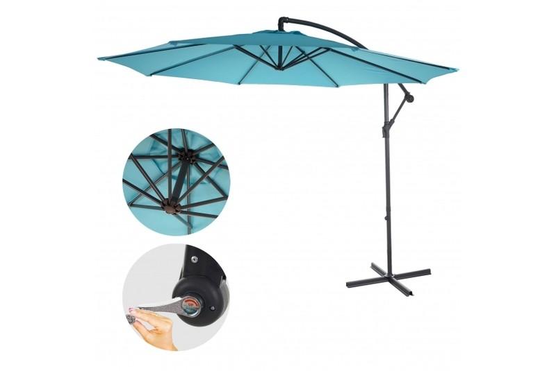 sonnenschirm t rkis blau 3m neigbar ohne st nder g nstig ampelschrim marktschirm ebay. Black Bedroom Furniture Sets. Home Design Ideas
