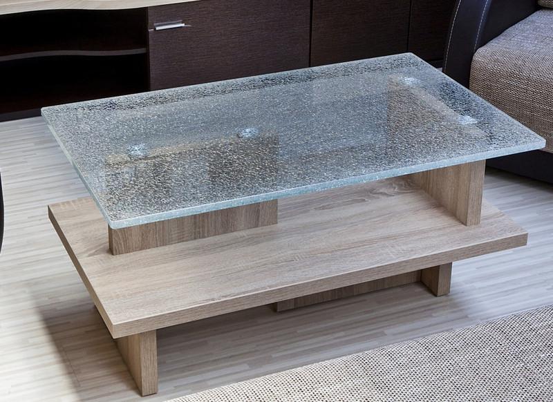 Crashglastisch 100cm couchtisch wohnzimmertisch sofatisch for Couchtisch crashglas