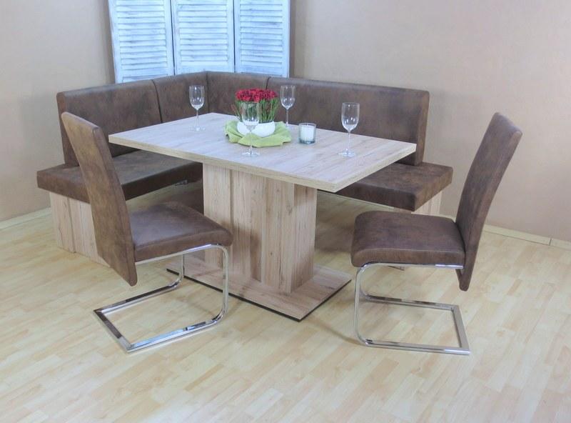 moderne Eckbankgruppe 4 tlg. Remo Eiche schoko Essgruppe Stühle Tisch preiswert  eBay