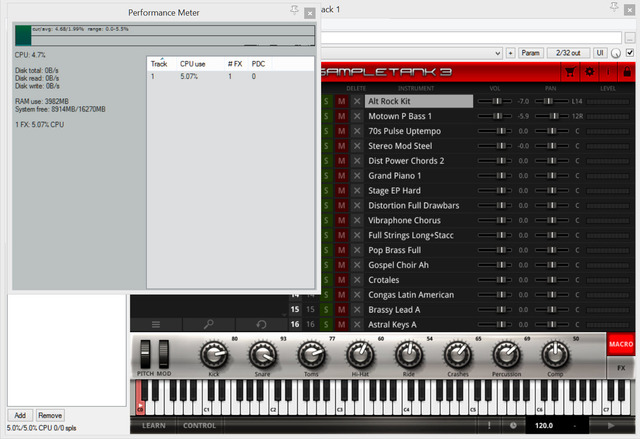 Sampletank 3 01 CPU usage with 16 instruments loaded