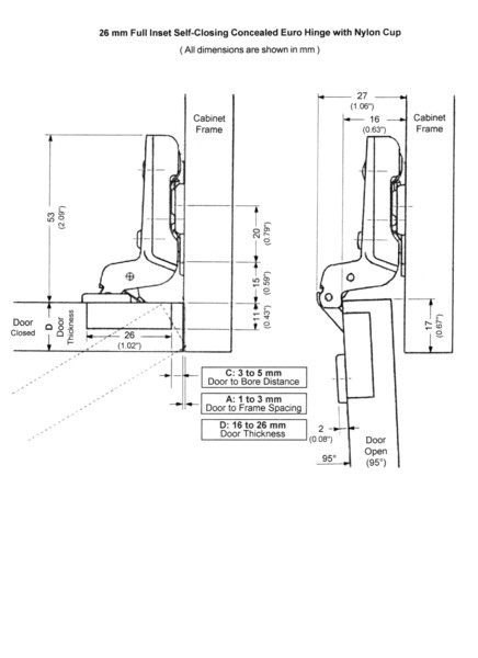 2 Mini Euro 26mm Concealed Inset Self Closing Hinges