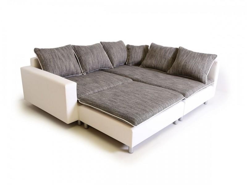 Kiros divano ad angolo in tessuto ed ecopelle cm 230x230 160 70 - Divani ad angolo ikea ...
