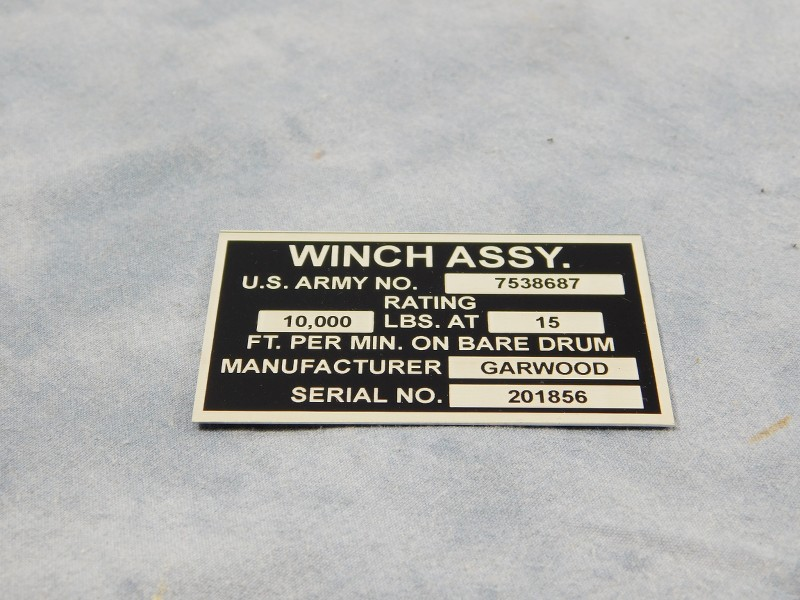 M35A2 DATA PLATE WINCH ASSEMBLY / MANUFACTURER DATA PLATE