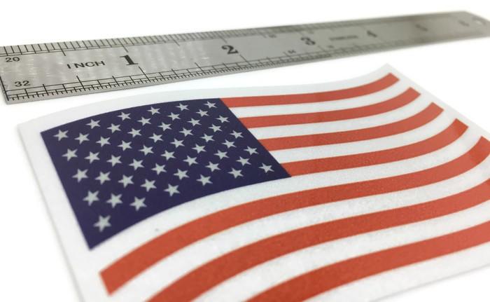 American US Car Truck Bumper Vinyl Decal #FS2044 REFLECTIVE USA Flag Sticker