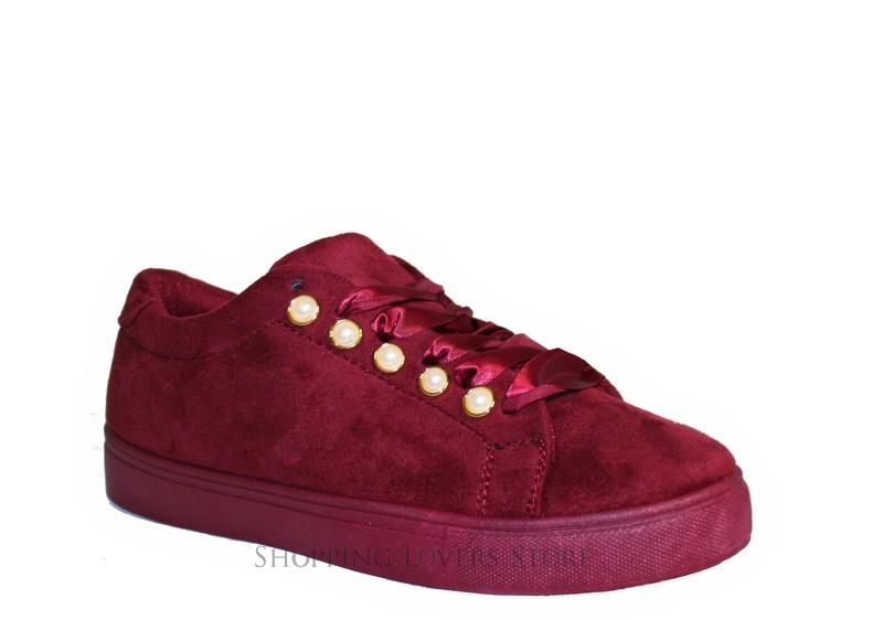 Dettagli su Scarpe donna Sneakers Scamosciate Perle Ginnastica Stringate Lacci Raso B02