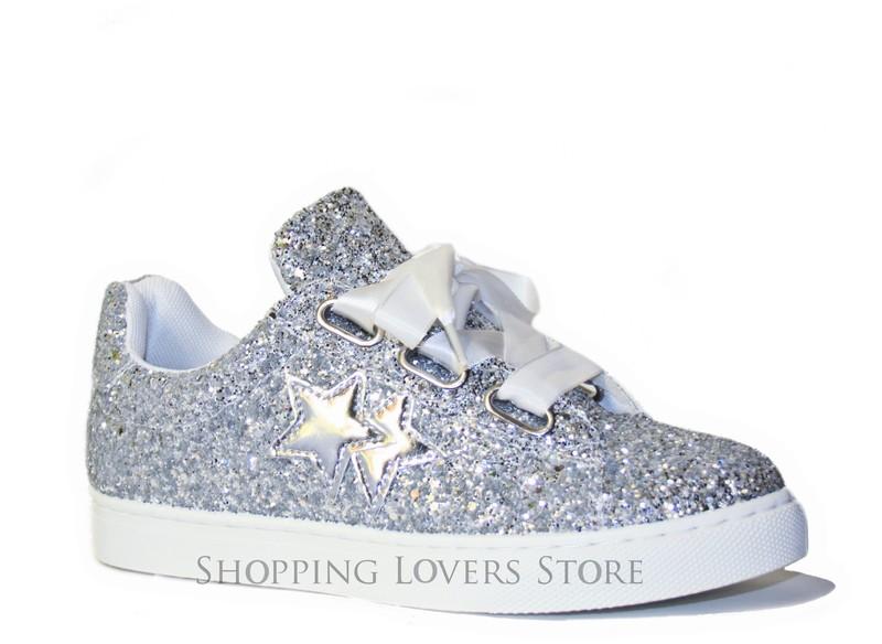 Scarpe donna Sneakers Glitter Stelle Ginnastica Rialzo Stringate Nastro A51 wFnVux2QN