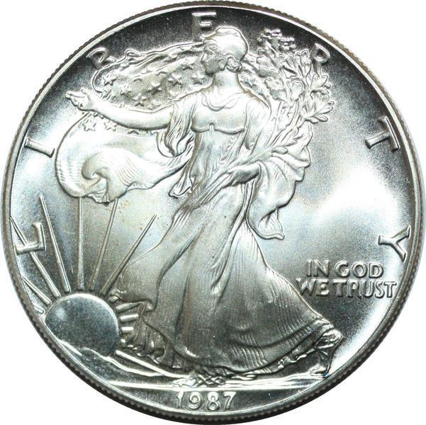 P3749-USA-Dollar-American-Silver-Eagle-1987-Silver-BU-gt-Make-offer miniature 2