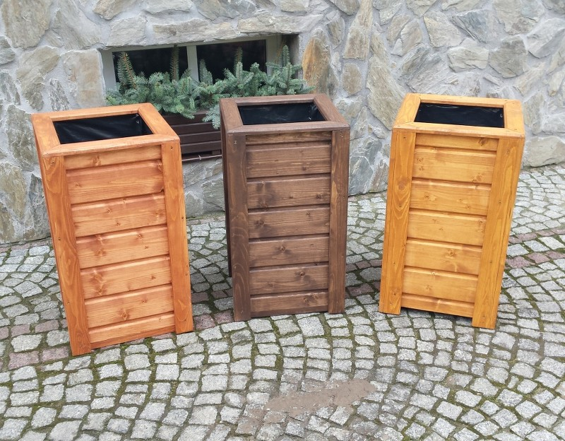 blumenkasten blumentopf pflanzkasten pflanzk bel aus holz quadratisch hoch. Black Bedroom Furniture Sets. Home Design Ideas