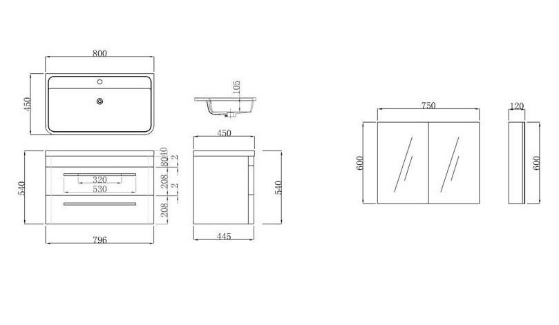 Mobile bagno sospeso boris design moderno bianco o nero - Altezza specchio ...