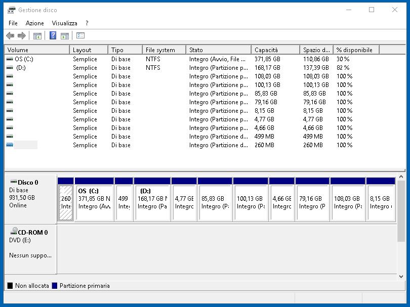 Gestione disco 3: partizionare il disco su Windows 10