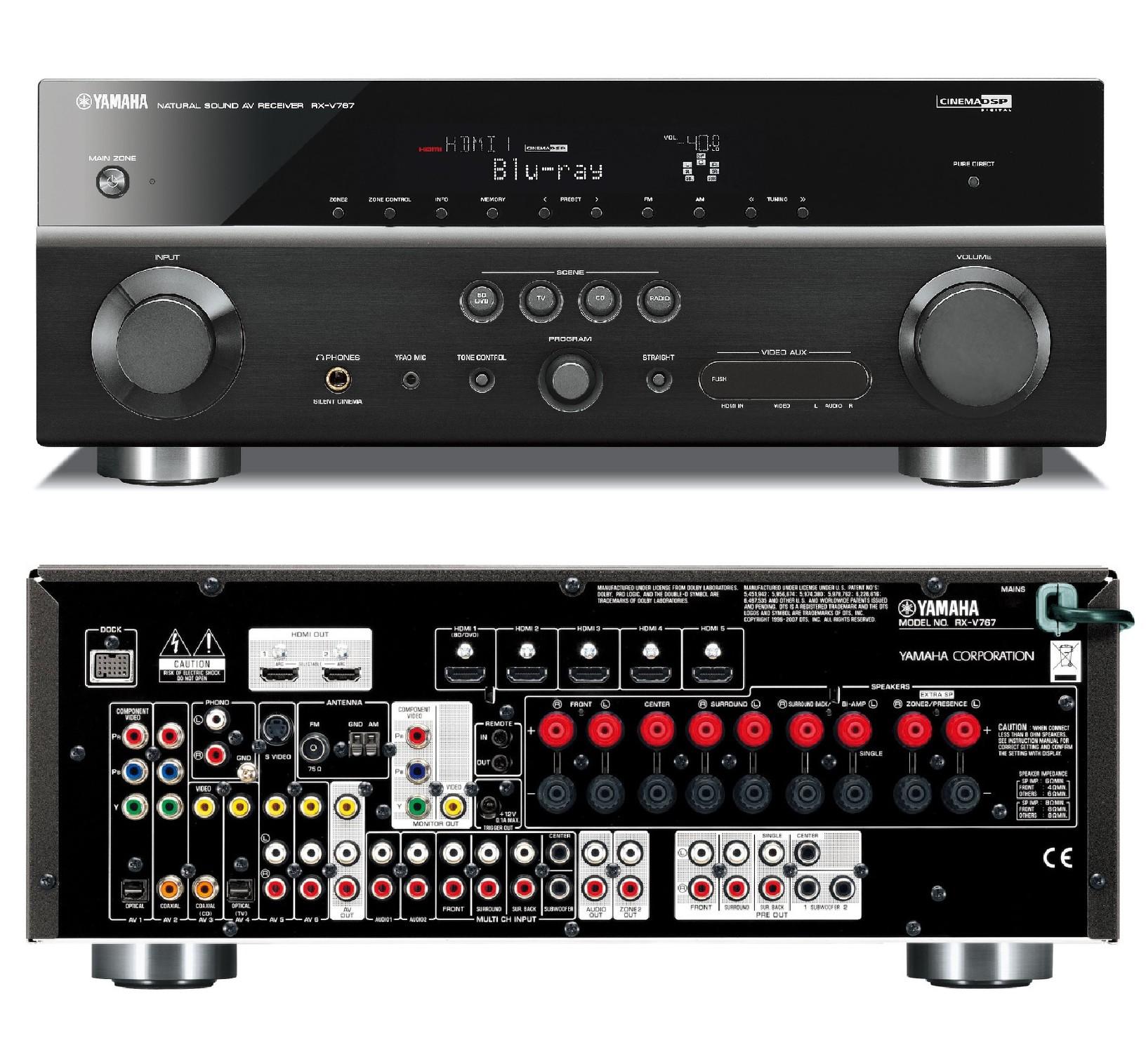 Yamaha RX-V767 Home Cinema 7.1 3D AV Receiver 6/2 HDMI