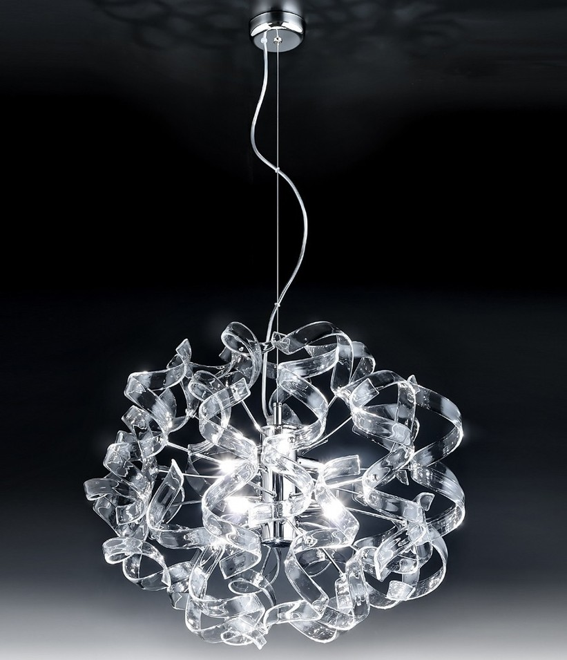 astro lampadario moderno acciaio cromato vetro cristallo 14 colori ... - Lampadari Moderni Camera Da Letto