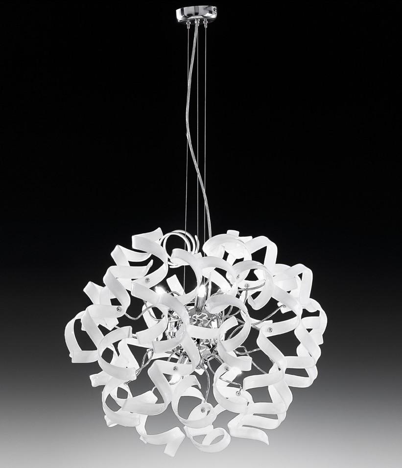 Astro Lampadario moderno acciaio cromato Vetro Cristallo 14 colori lampada sospensione moderna  -> Lampadario Acciaio Per Bagno