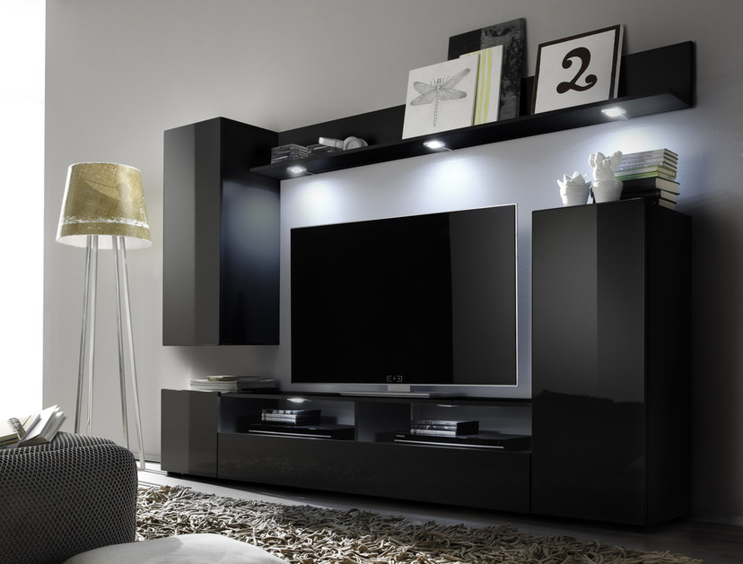 Soggiorno moderno teseo composizione mobile porta tv con for Mobile parete sala