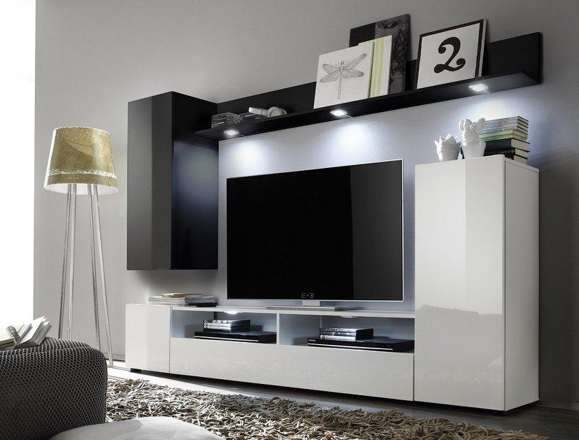 Soggiorno moderno teseo composizione mobile porta tv con for Mobili x salone