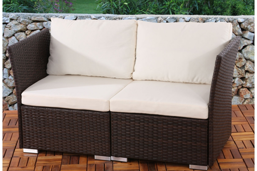 2er gartensofa braun kissen creme zweisitzer polyrattan couch terrasse lounge ebay. Black Bedroom Furniture Sets. Home Design Ideas