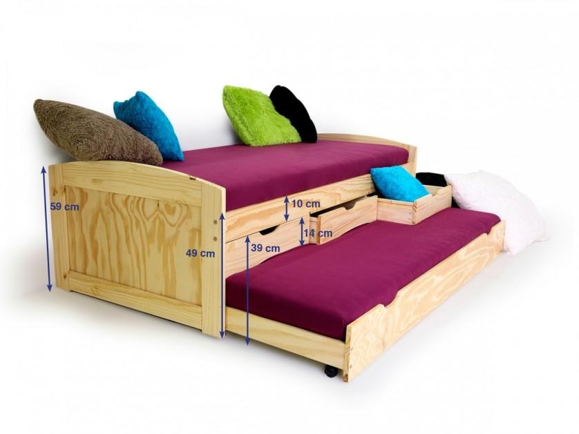 Letto singolo moderno dack una piazza con letto estraibile in legno o bianco - Letto estraibile moderno ...