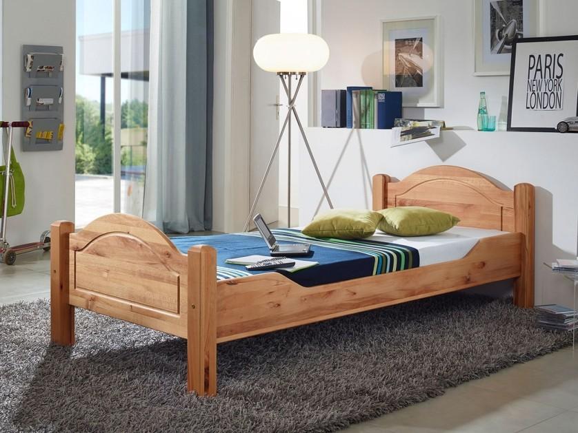 Letto moderno in legno massello astor singolo o una piazza e mezza di design - Larghezza letto una piazza e mezza ...