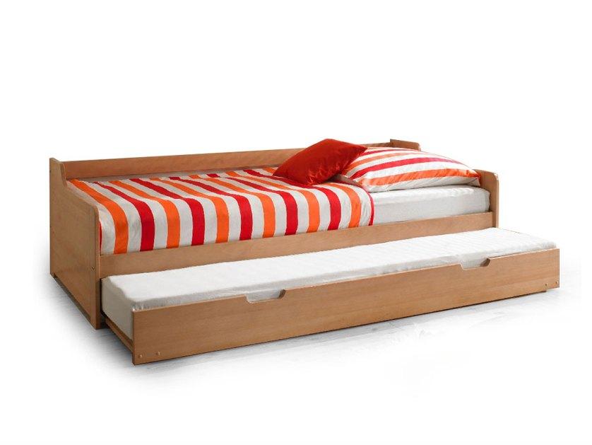 Letto singolo moderno di design peter in faggio con letto estraibile l 204 cm - Letto estraibile moderno ...