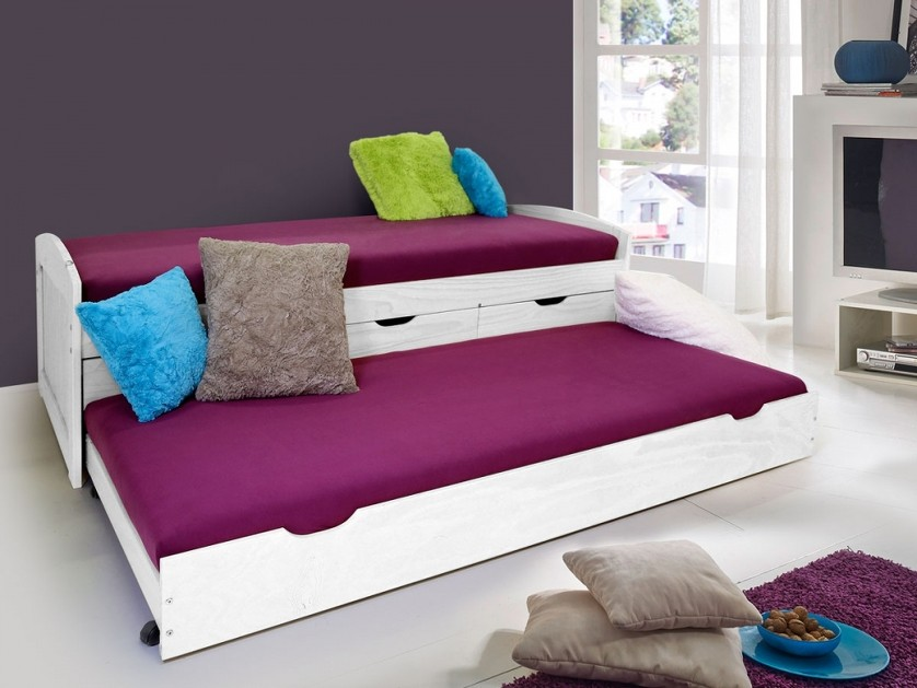 letto singolo moderno dack una piazza con letto estraibile in legno o bianco ebay. Black Bedroom Furniture Sets. Home Design Ideas