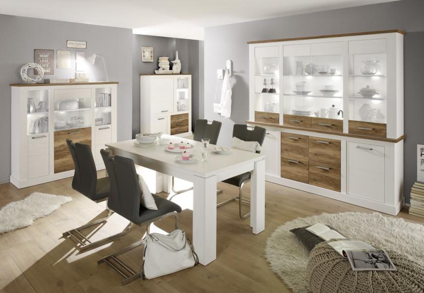 Composizione soggiorno moderno Target, parete in pino bianco ...