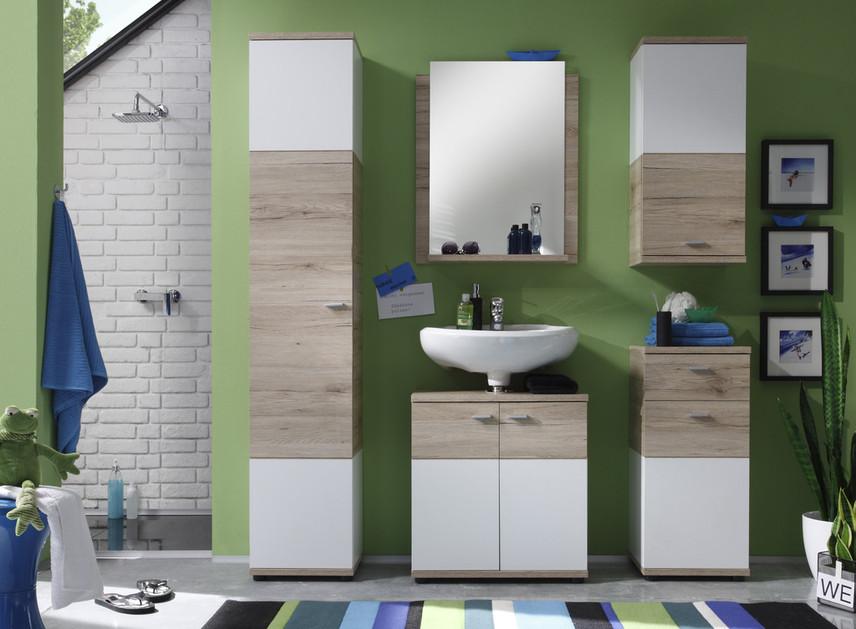 Mobile bagno sospeso Blues, design moderno,bianco e rovere con ...