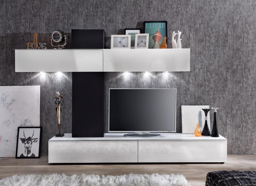 Soggiorno moderno free composizione parete di design for Salotto moderno bianco