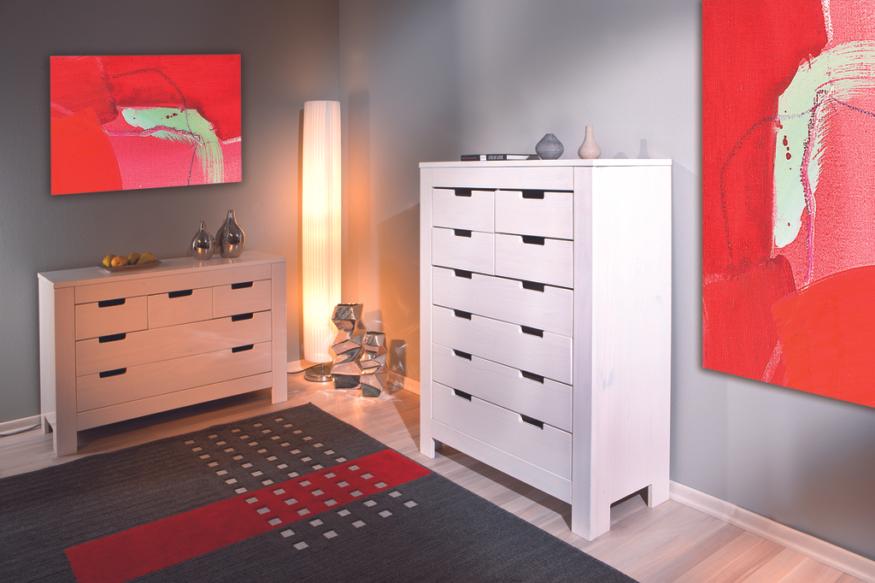 Cassettiera Ufficio Legno Massello : Cassettiera anna in legno massello mobile soggiorno moderno bianco