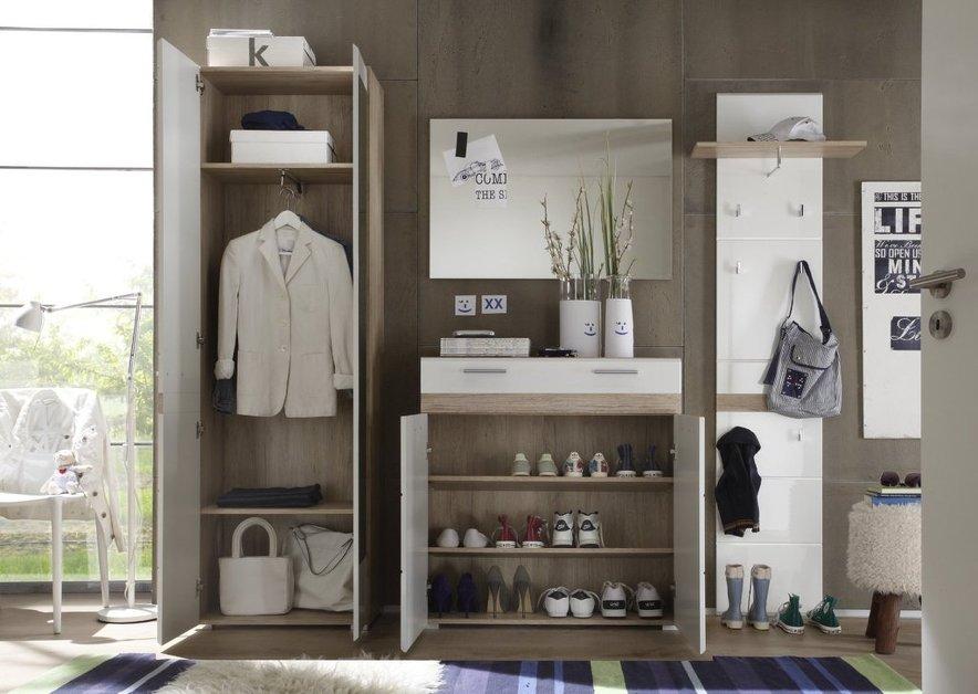 Entrata moderna Every, mobile ingresso rovere e bianco di design, con ...