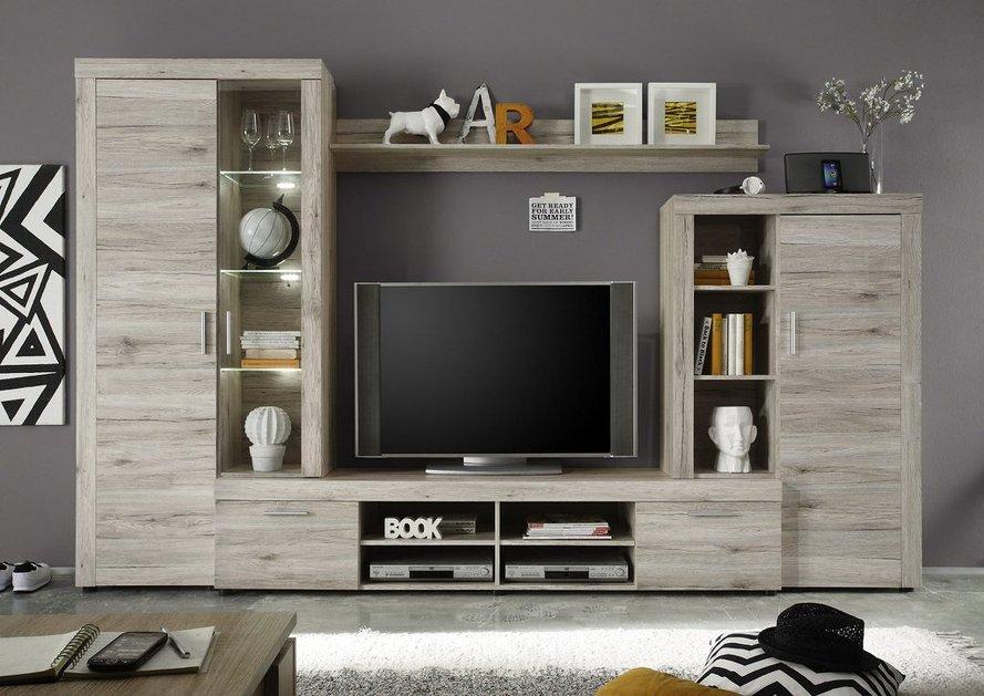 ... moderno Iago, composizione mobile porta tv con led, parete di design