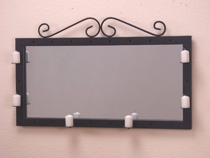 spiegel wandspiegel landhaus kerzenhalter wand schwarz modern ebay. Black Bedroom Furniture Sets. Home Design Ideas