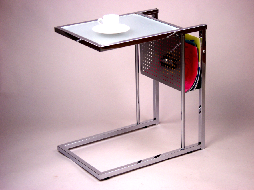 beistelltisch wei tisch glastisch milchglas zeitungshalter ablage design modern ebay. Black Bedroom Furniture Sets. Home Design Ideas