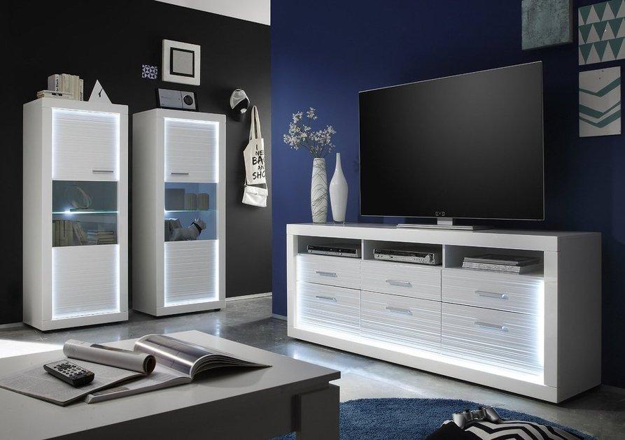 Porta tv moderno express mobile soggiorno bianco portatv di design con led - Mobile porta tv moderno design ...